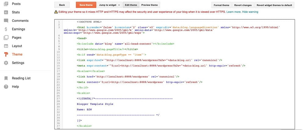 blogger to wordpress redirection code in blogger theme