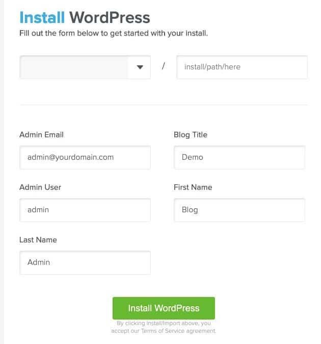 one click wordpress install inquickinstall marathi