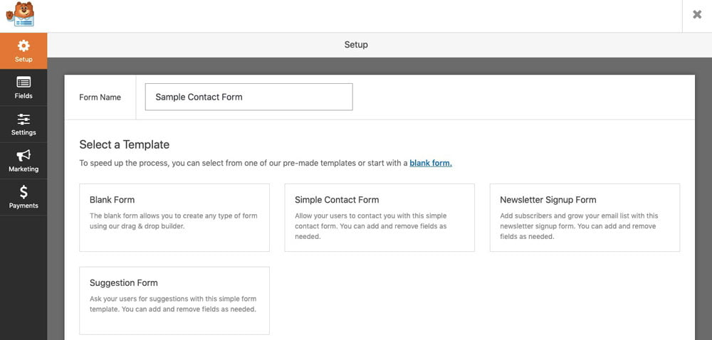 add new contact form with help of wpforms