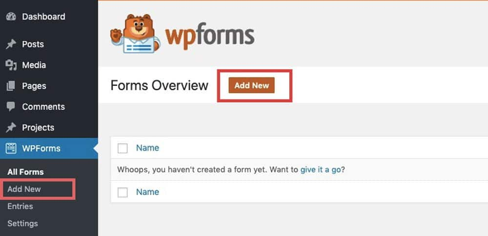 add new form in wp form